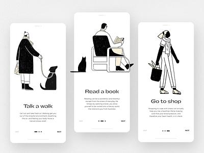 Onboarding - Mobile app covid 19 pandemic covid illustration app design uxdesign uidesign ux ui minimalistic black black  white mobile app mobile ui mobile onboardin