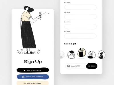 Sign up screen - mobile app uxdesign uidesign ux ui mobile apps mobile app mobile ui mobile illustration gift login sign up signup covid 19 covid pandemic