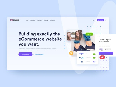 Woocommerce Redesign hero image hero section hero redesign woocommerce violet blue colors colorfull design uxdesign uidesign ux ui