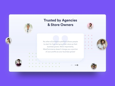 Woocommerce Redesign - Testimonials profile pic people testimonail woocommerce violet blue colorfull design uxdesign uidesign ux ui