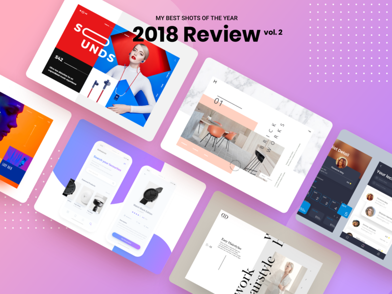 2018 Review 2 2018 2019 celebrate dribbble happy holidays new year shots uidesign uxdesign app