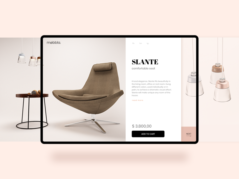 Product Slante luxury elegant minimal furniture slider web design product catalog ecommerce product lounge chair