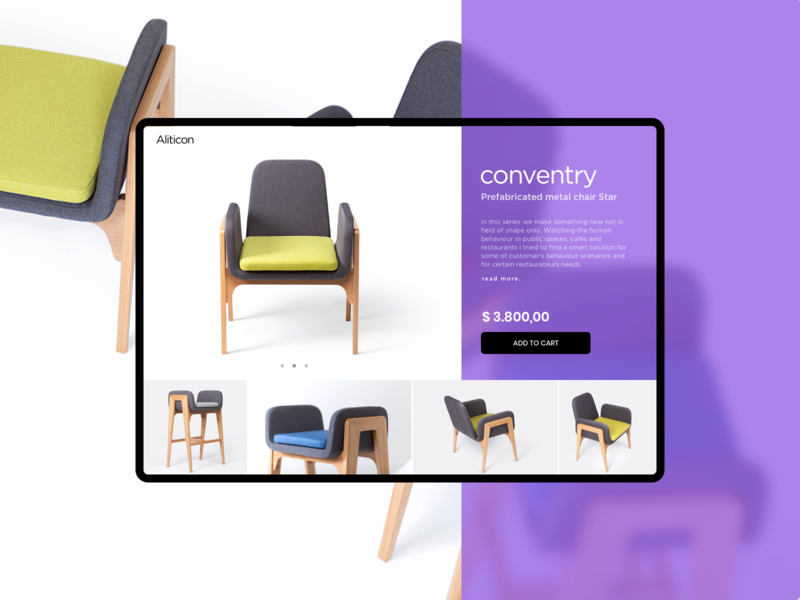 Product Slider - Converntry colorful elegant furniture slider web design product catalog ecommerce product lounge chair