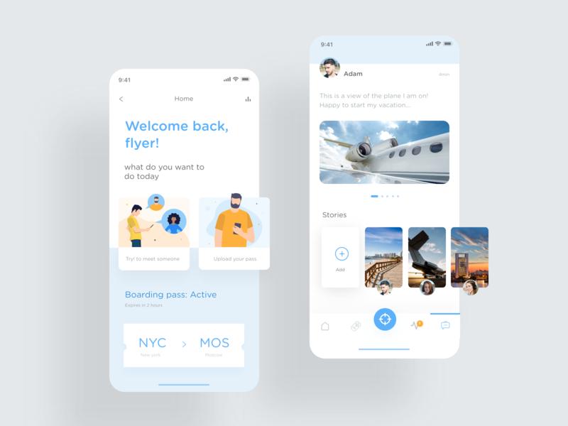 Pax community adobe xd blue ux ui uidesign uxdesign illustration fly app