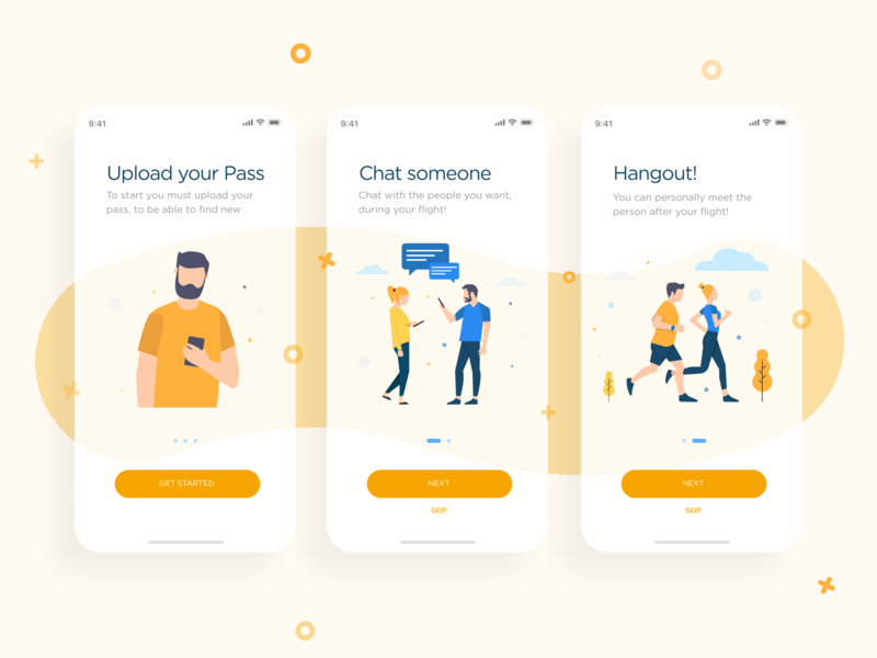 Onboarding Pax community adobe xd orange illustration colors app design uxdesign ux uidesign ui pax fly
