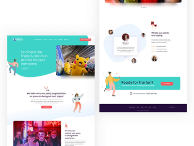 Partico website adobe xd homepage home page home page design homepage design party fun uidesign uxdesign colorful
