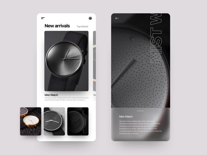 Luxury Watches sketch sketchapp watch watches mobilu ui mobile design mobile experimental design black and white black  white luxurious luxury monochromatic monochrome uxdesign uidesign