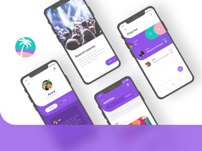 Social app purple light colors social minimal flat app branding ux vector ui logo design