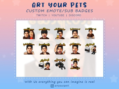 CUSTOM EMOTES/STICKERS FOR YOUR CHANNEL emotestwitch emotes graphicdesign 2d art