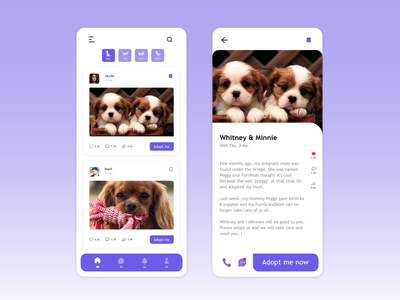 Pet Adoption Mobile App // UI Design minimal mobile app design mobile ui mobile design xd design flat app illustration ux ui design