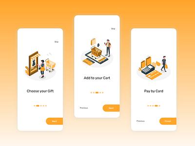 Online Gift Shopping // Onboarding // UI design shopping app mobile ui minimal ux ui design app