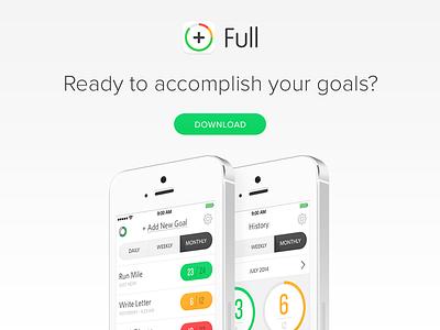 Full 2.0 - Website ios app web website iphone ipad modern clean white grey goals ui
