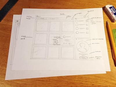 Instagram Redesign sketches drawings sketch social photos web instagram redesign ux interface design app ui