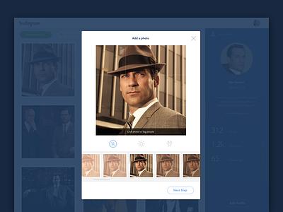 Instagram Redesign Web - Upload Flow steps upload social photos web instagram redesign ux interface design app ui