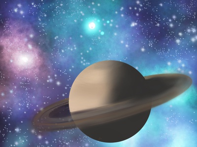 Infinity magnifier colorful view infinity saturn universe illustration