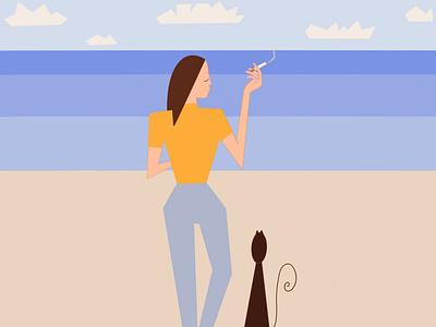 Knockin' On Heaven's Door view branding app magnifier natural girl illustration design colorful cubism illustration
