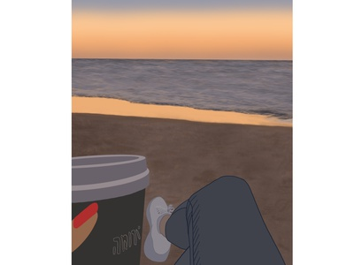 Sunset all branding sea view natural app relax beach magnifier colorful design illustration