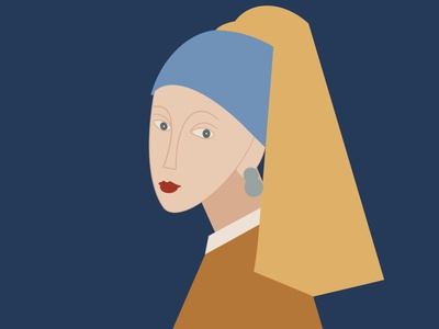 Girl with a pearl earring vector girl illustration natural magnifier colorful branding app vermeer cubism design illustration