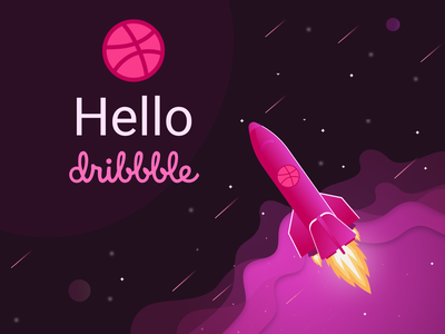 Hello dribbble hellodribbble design graphic spase dribbble pink hello dribbble vector shot illustration vector illustration vector art hello