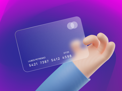 Glassmorphism Card Design banking credit card online banking bank bank card glassmorphism blur banking app money glass mastercard finance illustration 3d card design ux ui web ui