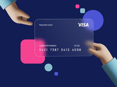 Glassmorphism Card creditcard credit card bank online banking banking bank card glassmorphism blurry bankingapp finance glass money ux  ui ui card 3d illustration