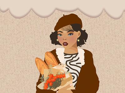 Girl with baguettes and flowers dtiys people character texture flat 2d girl design flowers baguette vectorart vector illustration digital illustration vector illustration