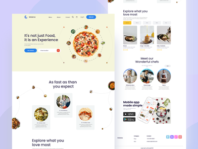 Food landing website design food design food delivery food app food landing page food landing website people graphic web ui graphic design design