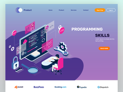Isometric programming landing page template isometric programming agency analytics business website design website people graphic web ui graphic design design