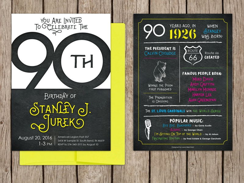 Enjoyable 90Th Birthday Invitation By Laura Merchant On Dribbble Funny Birthday Cards Online Barepcheapnameinfo