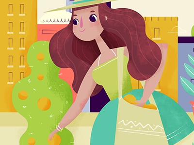 Verde! summer lady oranges textures vector illustration eco