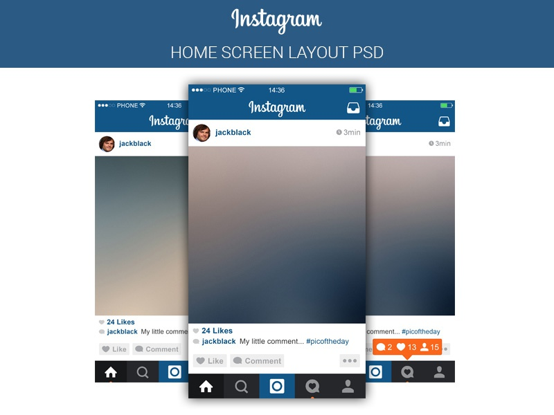 Instagram UI Free PSD by Marina - Dribbble