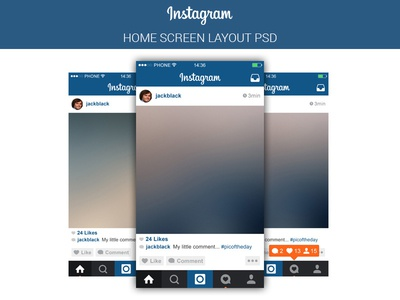 instagram main screen free psd by marina dribbble. Black Bedroom Furniture Sets. Home Design Ideas