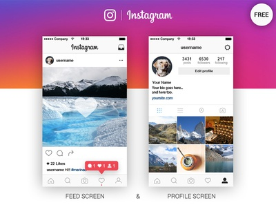 Instagram Feed & Profile Screen Free Ai mockup app gui freebie download free screen ui layout ig instagram