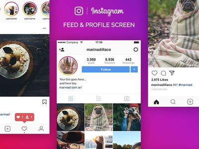 Instagram UI Free PSD mockup psd freebie download free screen ui layout ig instagram