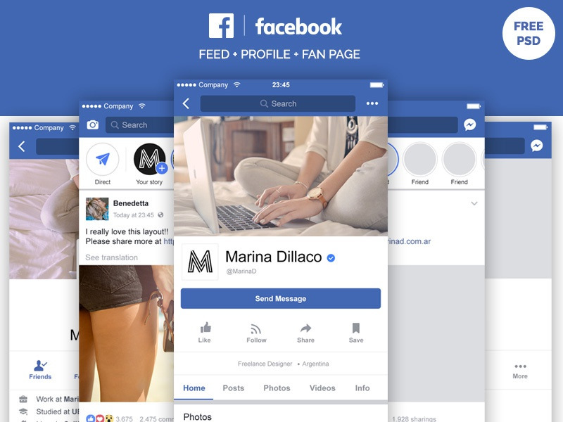 Facebook Mobile Layout FREE PSD by Marina on Dribbble