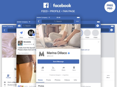 Facebook Mobile Layout FREE PSD interface mockup facebook app mobile design material ui layout psd free freebie