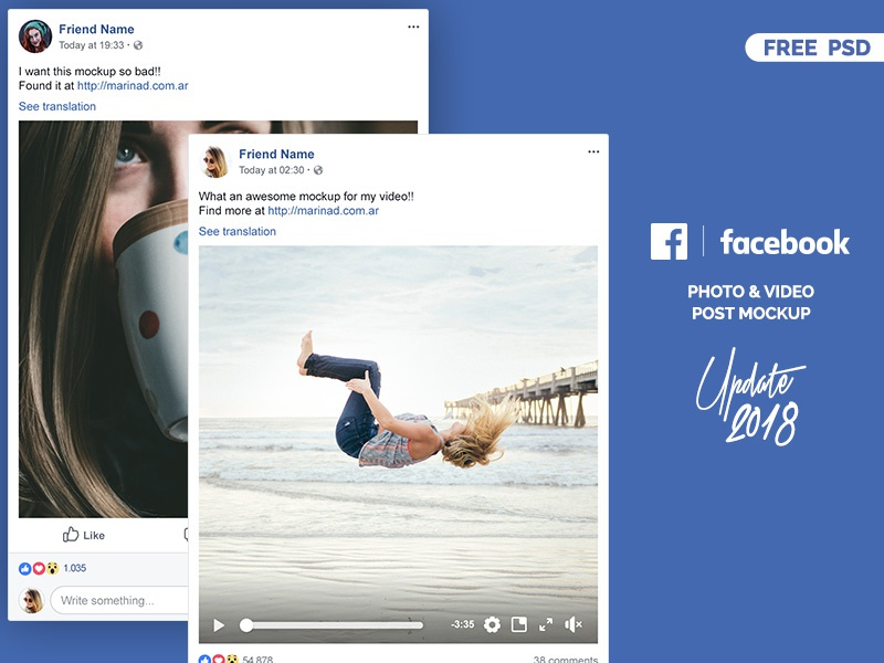 facebook 2018 post mockup free psd by marina on dribbble