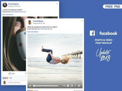Facebook 2018 Post Mockup FREE PSD freebbble layout facebook desktop post mockup freebie free download design ui screen