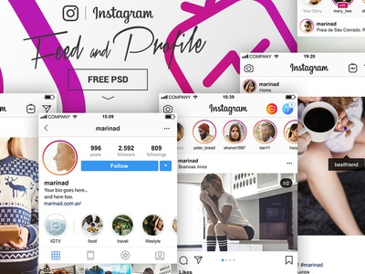 New Instagram UI Free PSD igtv instagram ig layout ui screen free download freebie psd mockup