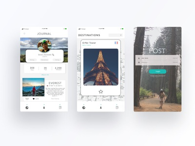 Early Designs adventure map diary journal travel app travel mobile design ux photoshop ui
