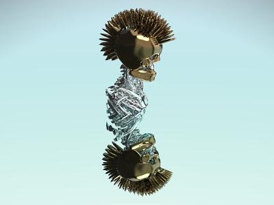 3D Slicer maya mohawk silver chrome gold gladiator helmet bones skeleton skull rock and roll keyshot prosthetics design 3d artist 3d modeling maya 3d 3d art