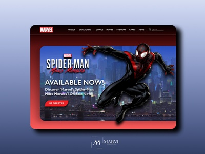 Marvel.com landing page redesign homepagedesign spiderman marvel branding redesign website dailyui web ux ui design