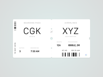Daily UI #024 entypo airlines jakarta boarding pass sketch dailyui
