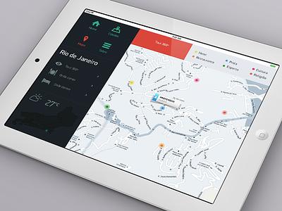 Flat on Maps ios ipad design ux ui local location brasil map flat