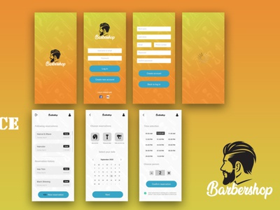 Barbarshop Mobile app Interface app design ux design ui