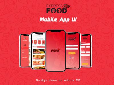 Food Express Mobile UI app design branding design ux ui
