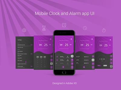 Simple Mobile clock app UI alarmclock alarm app clock design ux ui