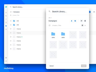 Digital Asset Manager filter library files tabs organize upload modal checkboxes bulk navigation menu search table list grid ui dam