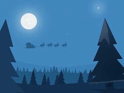 Christmas view landscape illustration cold winter stars reindeer santa christmas