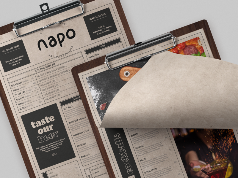 Restaurant menu simple clean italian brand identity brand print design food print typography brand design branding clipboard restaurant menu design menu card menu
